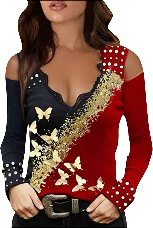 Smooto Long Sleeve Shirt Women Sling Cas Inexpensive Cheap V-Neck Sexy