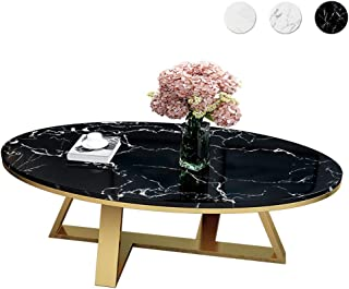 Nordic Marble Simple Tea Table Coffee Table Oval Living Room Modern Stainless Steel Fashion Household Small Apartment End Table Home Decor