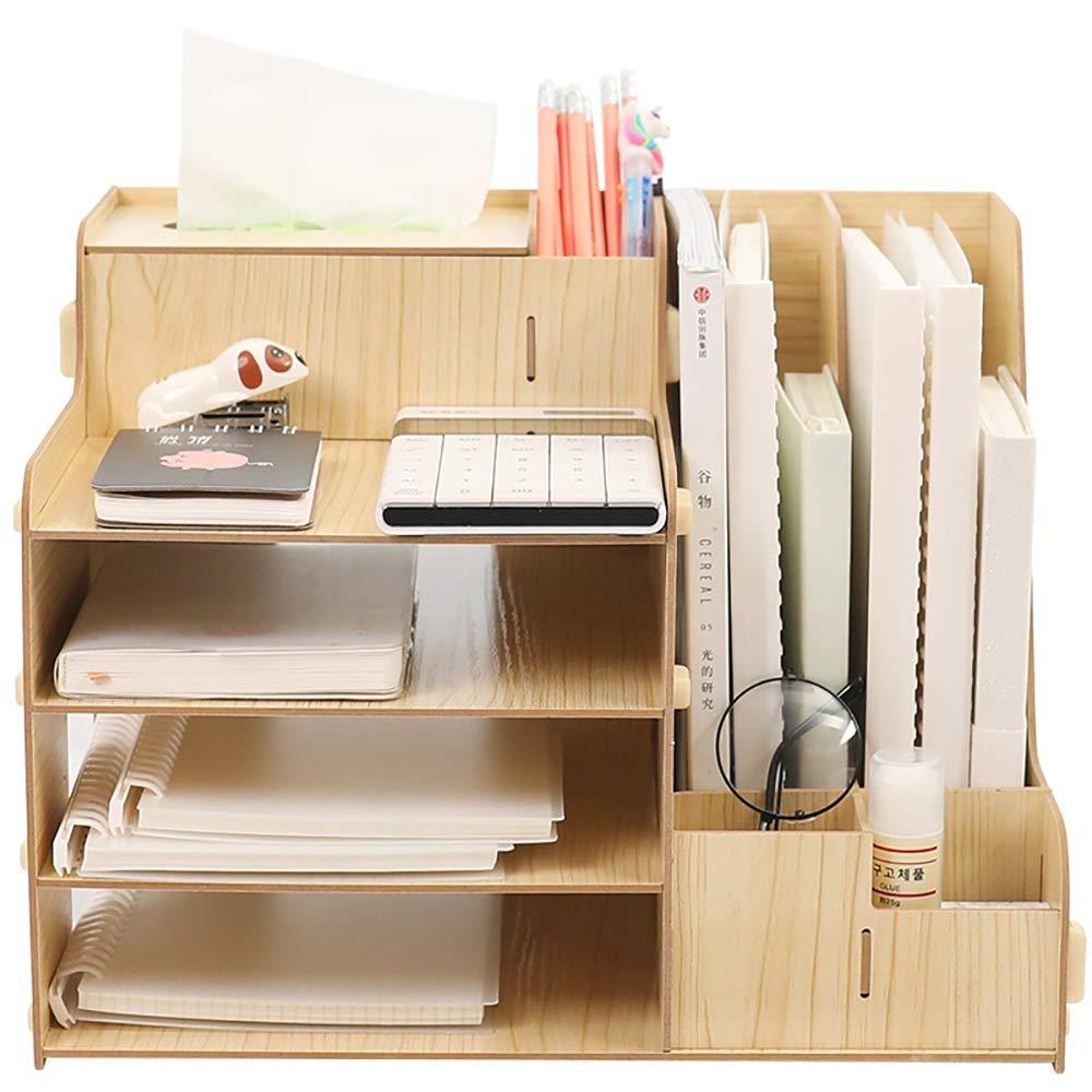Caja de Almacenamiento de Archivos Escritorio de madera Organizador, de gran capacidad de bricolaje Material de Oficina Caja de almacenamiento de archivos en rack papel de revista Documento Holder Cla: Amazon.es: Hogar