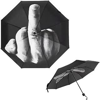 JahyShow Folding Novelty Middle Finger Umbrella Creative Gift, Fuck Rain Black
