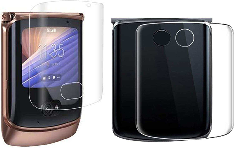 (2 SET 4PCS)Screen Protector Soft Film Compatible with Moto Razr 5G, 2 Pack Front+Back Anti-Glare Screen Protector Soft Matte Skin Protective Frosted Film Designed for Motorola Moto Razr 5G 2020