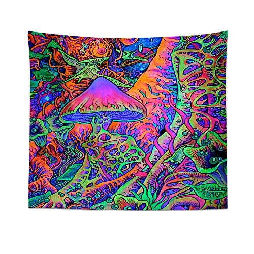Tapiz de decoración de pared,DONGKIKI tapices de pared de bosque de hongos coloridos hippie psicodélico bohemio para colgar para dormitorio, sala de estar