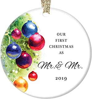 Gay Couple Marriage Christmas Ornament 2019 Our First Christmas Married Mr & Mr Husband Life Partners Wedding Present Festive Holiday Ceramic Keepsake 3