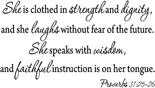 VWAQ She Is Clothed In Strength And Dignity, Proverbs 31 25-26 Vinyl Wall Art Decal Sticker For Womans Bedroom -18095 (12.5