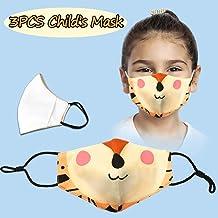 Kids Face Bandanas Breathable Seamless Cute Print Children Boy Girl 3PC儿童时尚动物印花防尘可水洗 T-A6
