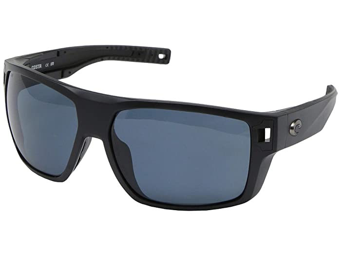 Costa  Diego (Matte Black Frame/Gray Lens 580P) Fashion Sunglasses