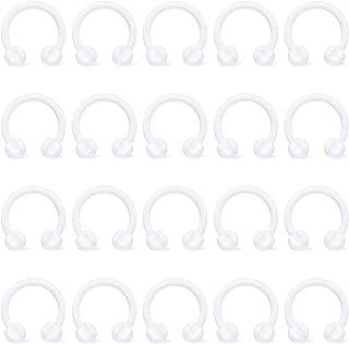 Hoeudjo Septum Ring Retainer 16G Clear Flexible Bioflex Nose Lip Cartilage Hoop Earring Horseshoe Piercing for Work 20-24Pcs 6mm 8mm 10mm 12mm