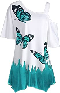 OrchidAmor Large Size Women Butterfly Printing T-Shirt Short Sleeve Tops Blouse