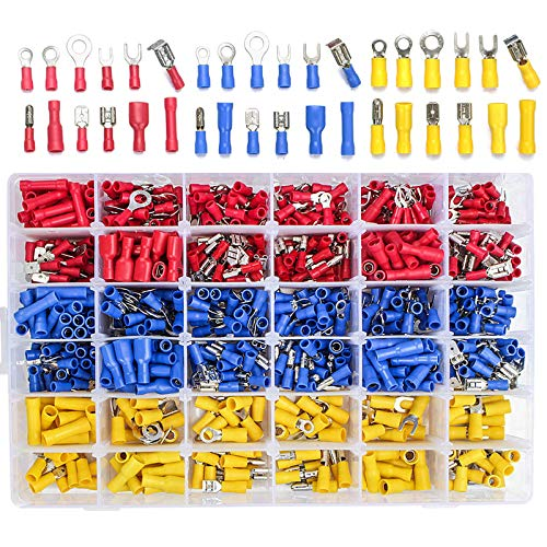 560PCS Electrical Wire Connectors Qibaok Insulated Wire Crimp Terminals Mixed Butt Ring Fork Spade Bullet Quick Disconnect Assortment Kit