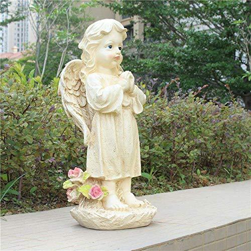 Adornos de jardín Hermosa niña Ángel Estatuilla Retro Resina Impermeable Estatua de jardín para jardín Paisaje Decoración de césped Artesanía Regalo - 18 * 15 * 43cm A