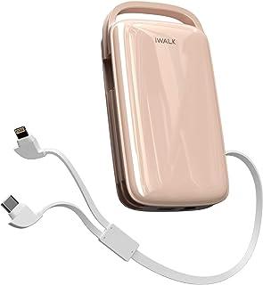 iWALK Powerbank 20 000 mAh, USB C externt batteri med 18 W, bärbar laddare med integrerad USB-C-kabel kompatibel för iPhon...
