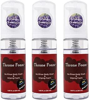 Throne Foam Waterless Cleansing Foam: No Rinse Body Wash & Wiping Foam - Foaming Shower in a Bottle for Camping, RVs, Boats - Wet Wipes Bathing Alternative - Lavender Chamomile, 1.69 Fl Oz, 3 Pack