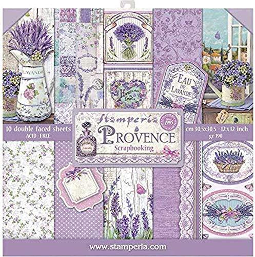 """Stamperia Blocco 10 Fogli 30.5x30.5 (12""""x12"""") -Double Face Provence, Multicolore, 30.5cmX30.5cm, 3 unità"""