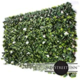3rd Street Inn White Rose Rattan Leaf Trellis 4-Pack - Bamboo Greenery Panel - Boxwood and Ivy Privacy Fence Substitute - DIY Flexible Fencing (White Rose Rattan)