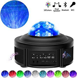 [2020 Upgrade Version]Night Light Projector,Star Projector Ocean Wave Projector with Bluetooth Music Speaker Sound Activated Party Lights for Kids' Birthday, Party,Home Theatre, Night Light Ambiance