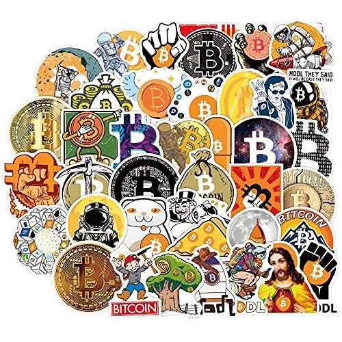 ZZHH 50Pcs Bitcoin - Paquete de Pegatinas de Monedas Dorje para portátil DIY, monopatín, Guitarra para portátil, Pegatina de criptomoneda Virtual