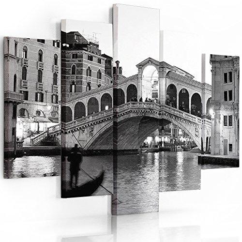 Feeby Frames, Quadro multipannello di 5 Pannelli, Quadro su Tela, Stampa Artistica, Canvas Tipo A, 100x200 cm, Città, Venezia, Ponte di Rialto, Nero E Bianco