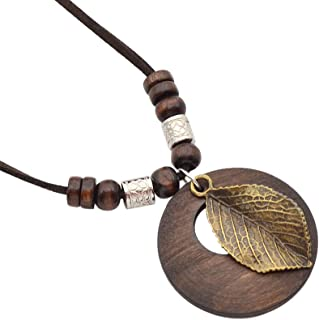 Qlychee Hollow Wooden Pendant Necklace Vintage Leaf Rose Charm Long Sweater Necklace