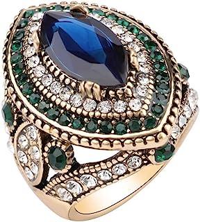 خاتم نسائي من CKHAO - مطلي بالذهب العتيق على الطراز التركي متعدد الألوان من الأحجار الكريمة خواتم قديمة للنساء J0769G
