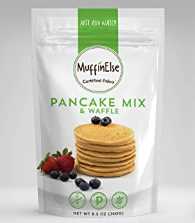 MuffinElse Paleo Pancake & Waffle Mix – Certified Paleo Pancake Mix – Dairy Free, Grain Free, Gluten Free, No Sugar Added, No Preservatives, Non-GMO – Just Add Water Fluffy Pancakes & Waffles Mix