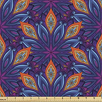 Ambesonne Mandala Fabric by The Yard Vibrant Colored Floral Pattern Eastern Style Vintage Art Desin Print Decorative Fabric for Upholstery and Home Accents Orange Pale Blue Purple