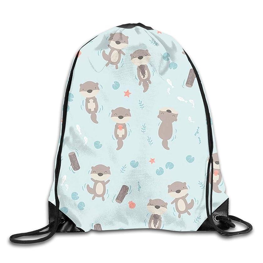 Otter Men & Women Sport Gym Sack Dancing Bag Drawstring Backpack For Beach Hiking Travel Bags