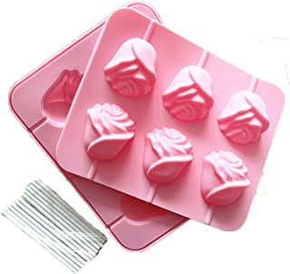 JLHua 6 Rose Shapes Silicone Lollipop Mold Tray Pop Cake Stick Mould for Party Holidays Cupcake Baking