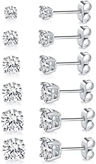 Women's 18K Gold Plated CZ Stud Earrings Simulated Diamond Round Cubic Zirconia Ear Stud Set for Girls Boys Mens(6 Pairs)