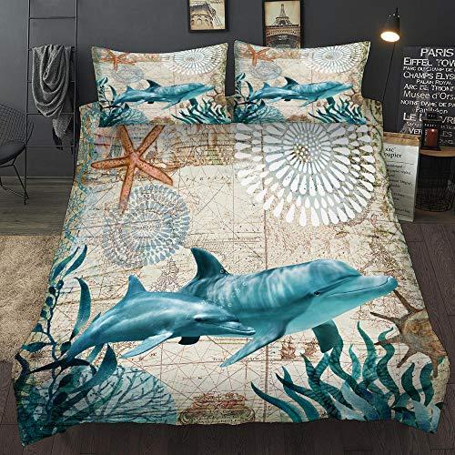 Bedclothes-Blanket Juego de Cama Underwater World Funda de edredón con 2 Fundas de Almohada Juego de Cama Suave hipoalergénico de 3 Piezas con Cierre de Cremallera King 220 x 230cm-3_200 * 200