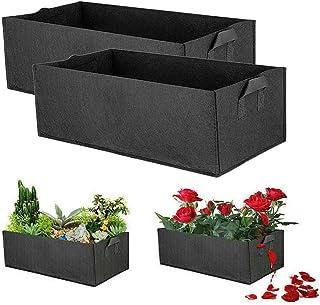 2pcs Reusable Non-Woven Fabric Square Pocket Pouch Grow Bag Planter Planting Bag Garden Bed for Flower Vegetable Tomato Ca...