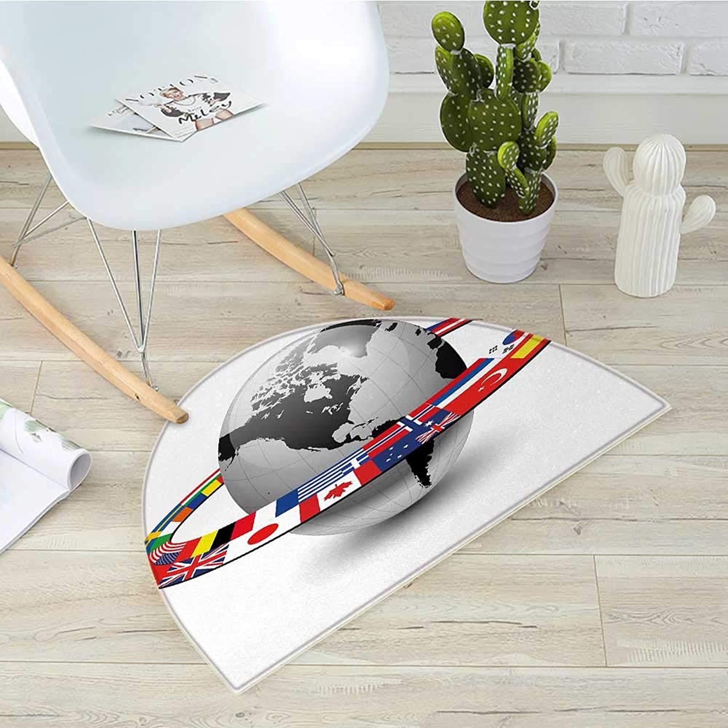World Semicircle Doormat Earth Planet with Orbit Made from National Flags International Composition Countries Halfmoon doormats H 19.7  xD 31.5  Multicolor