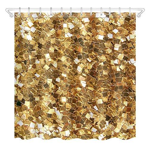 Dixinla 3D Duschvorhang Wasserdicht & Mehltau-Nachweis aus Polyester digital Druck kreative gold glitzernden Bad Duschvorhang, 12 Haken