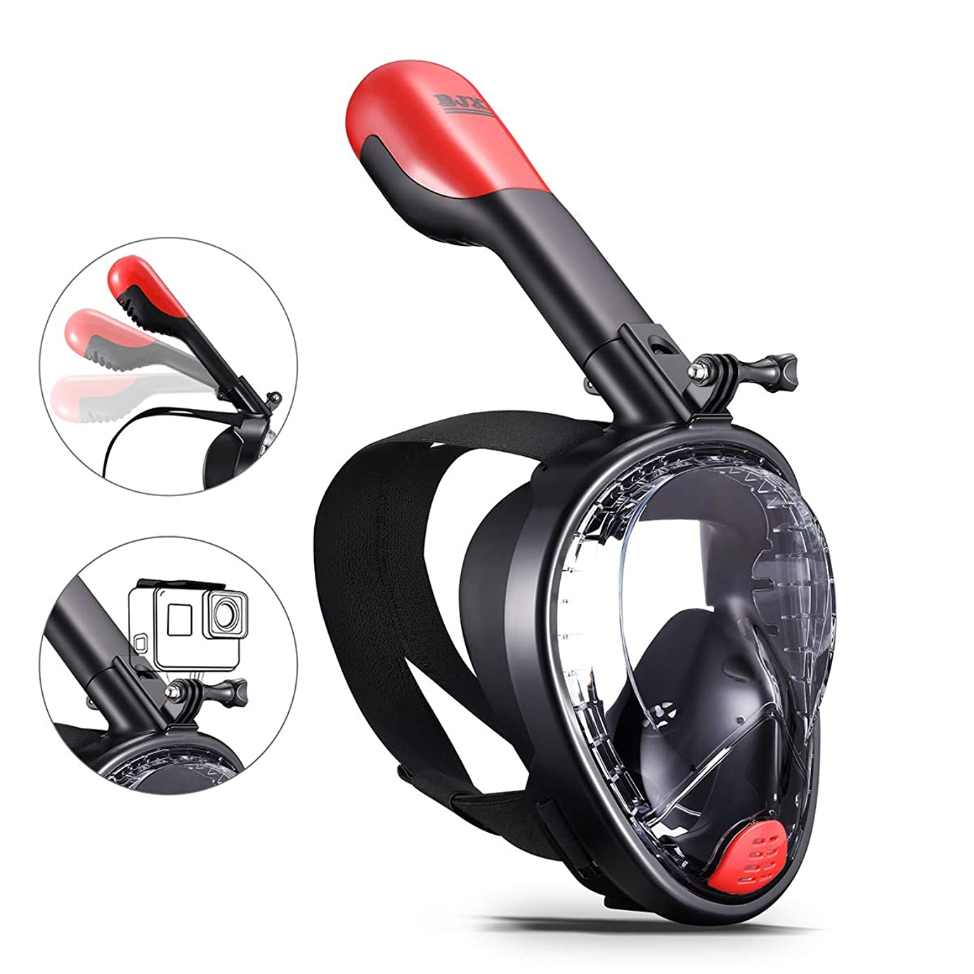 BJX Full Face Snorkel Mask,180° Panoramic View, Free Breathing,Protect Against Dangerous CO2 Build-Up,Dry Top Set Anti-Fog Anti-Leak Universal Size for Adults