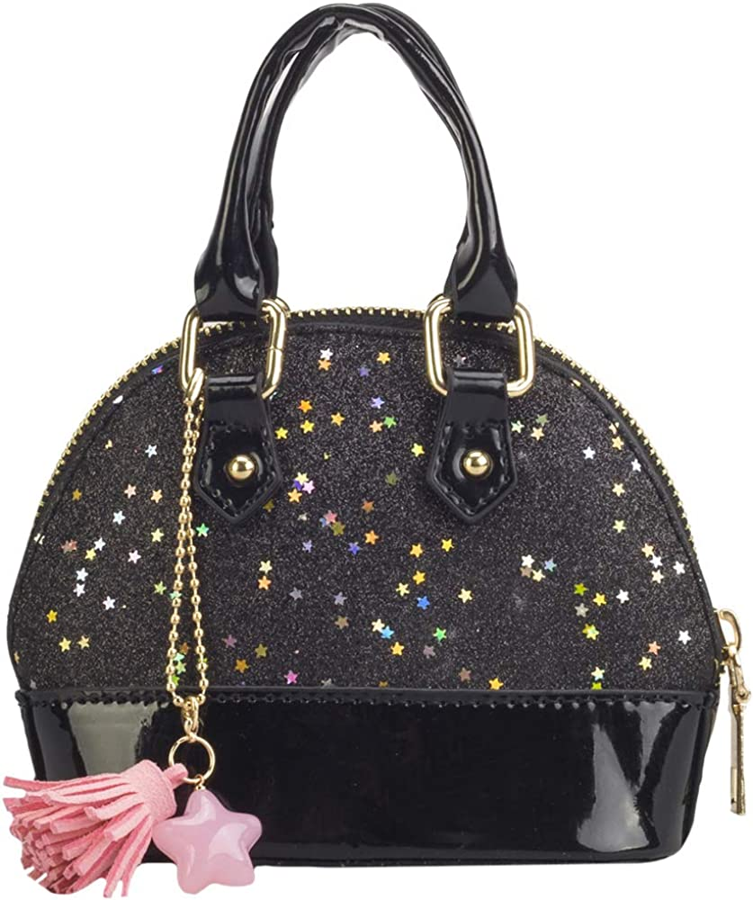 Black Women Ladies Patent Pu Leather Classic Top Handle Shoulder Bag Wedding