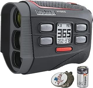 Bushnell Bundle | 2018 Hybrid Golf Laser Rangefinder GPS + 2(Two) CR2 Batteries + Custom Ball Marker Hat Clip Set (American Eagle)