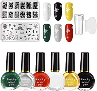 Ownest 6 Colors Nail Art Stamping Polish Kit,Colourful Manicuring Plate Printing Polish Varnish 10ML,with 2 Manicure Nail ...