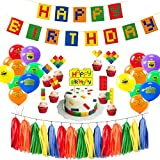 Building Block Happy Birthday Party Decorations for Kids Boys Girls Brick and Block Themed Party Supplies Favors With Banner, Tassel Paper Garlands, Cake Toppers and Latex Balloons