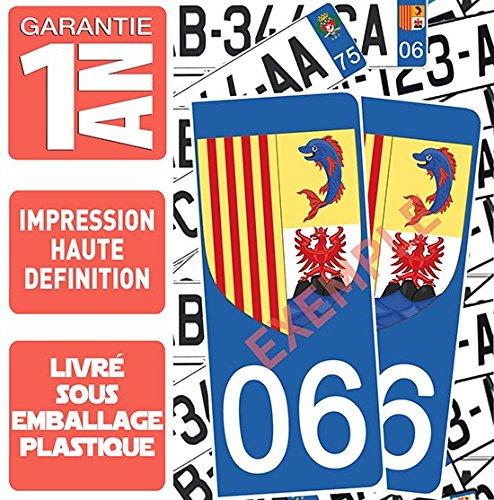 DECO-IDEES 2 Pegatinas para Placa de matrícula AV & Ar, Dept. 06 Nice, M en Bati sieu nissart, Region Paca – garanti 1 an – ángulo Redondeados – Colores Pantone 300 C