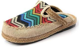 Lihcao Zapatos de tela de estilo étnico, color de lino, con cabeza redonda, transpirable, zapatos de tacón plano (color: a...