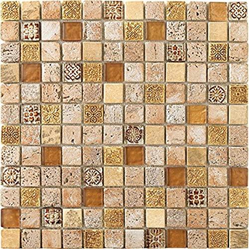 Mosaico de Vidrio y Mármol en Malla DEC-47082ANXSLI, Oro, 8 mm, 30 x 30 cm
