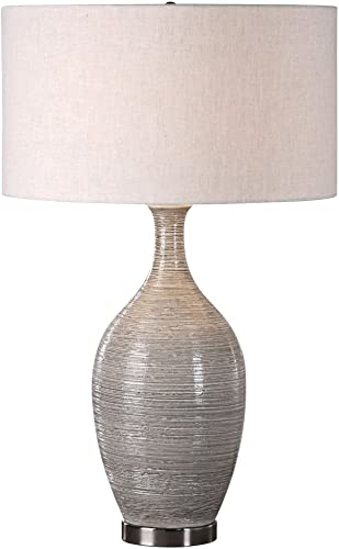 new arrival Uttermost outlet online sale 27518 Dinah online sale Mushroom Gray Textured Table Lamp online sale