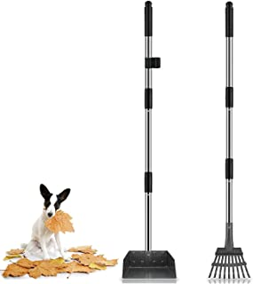 Niubya Poop Scooper for Dogs, Tray and Rake Set with...