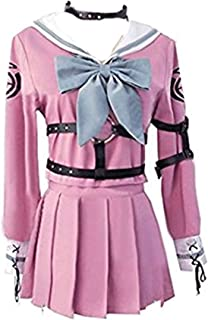 Vicwin-One Anime Iruma MIU Pink Dress Belts Gloves Sets Cosplay Uniform Outfit Cosplay Costume