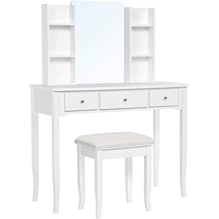 VASAGLE, Multifunctional Computer Armoire Hutches, Vanity Set Makeup Dressing Table with Mirror, Cushioned Stool, for Bedroom, 38.6 x 15.9 x 52.6 Inches, White
