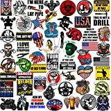 Hard Hat Stickers 50+ MEGA PACK, Tool Box Stickers and Decals for adults, Funny Construction, Military, Veteran, Union, Patriotic USA Stickers, Make People Laugh at Work, Set 2