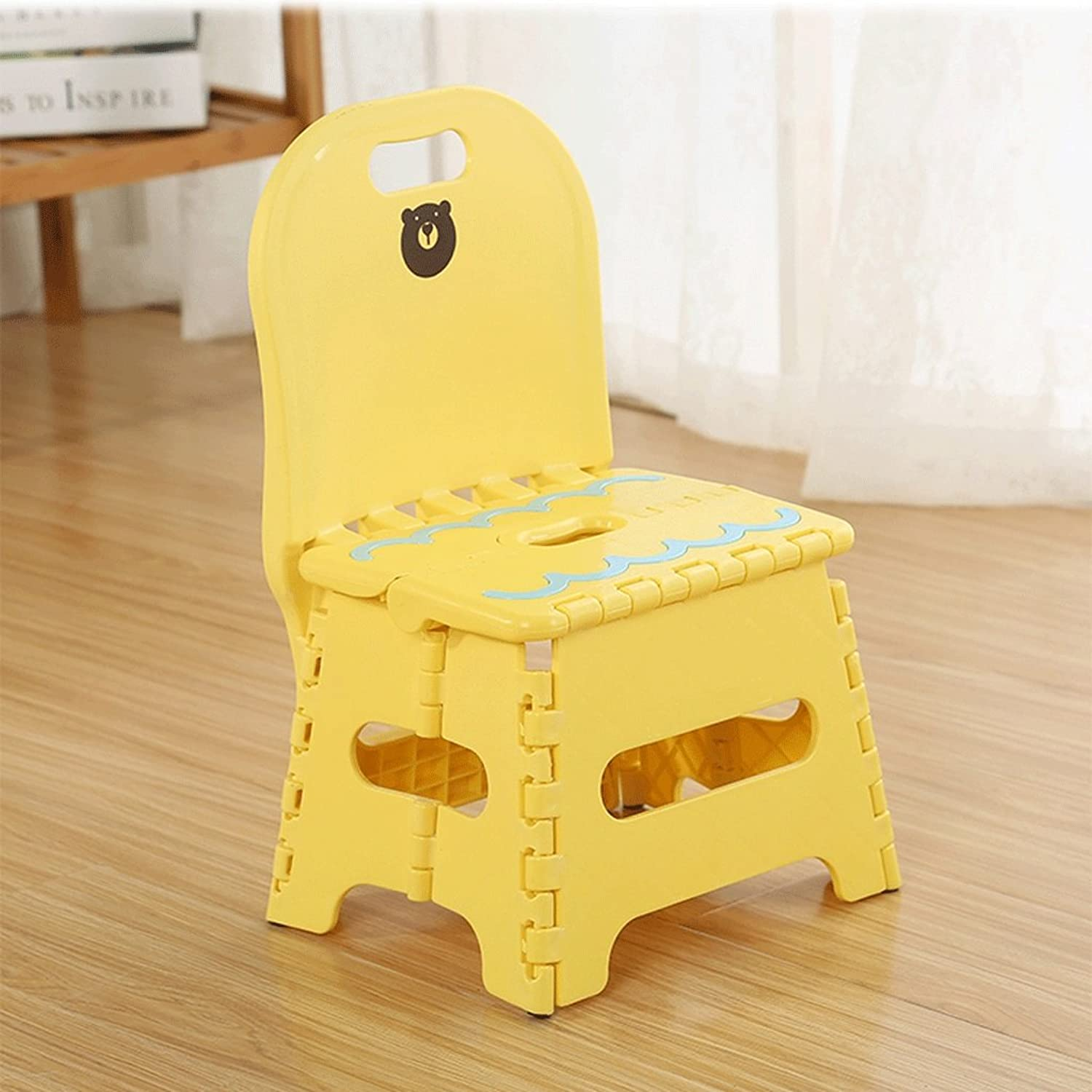 Folding Step Stool - Height Premium Heavy Duty Foldable Stool for Kids & Adults, Kitchen Garden Bathroom Stepping Stool (color   Yellow)