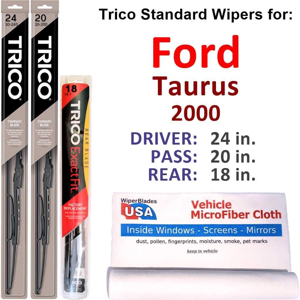 Wipers for High quality new Ranking TOP3 2000 Ford Taurus Set of Steel w Trico Rear