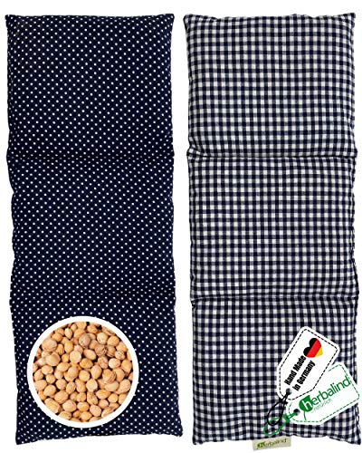 3000 Kirschsteine Herbalind XL Kirschkernkissen Nacken Schulter - Körnerkissen 3 Kammer Handmade in Germany - 100% Baumwolle, Wärmekissen Mikrowelle - Geschenk für Herren, 900g, 50x20cm blau