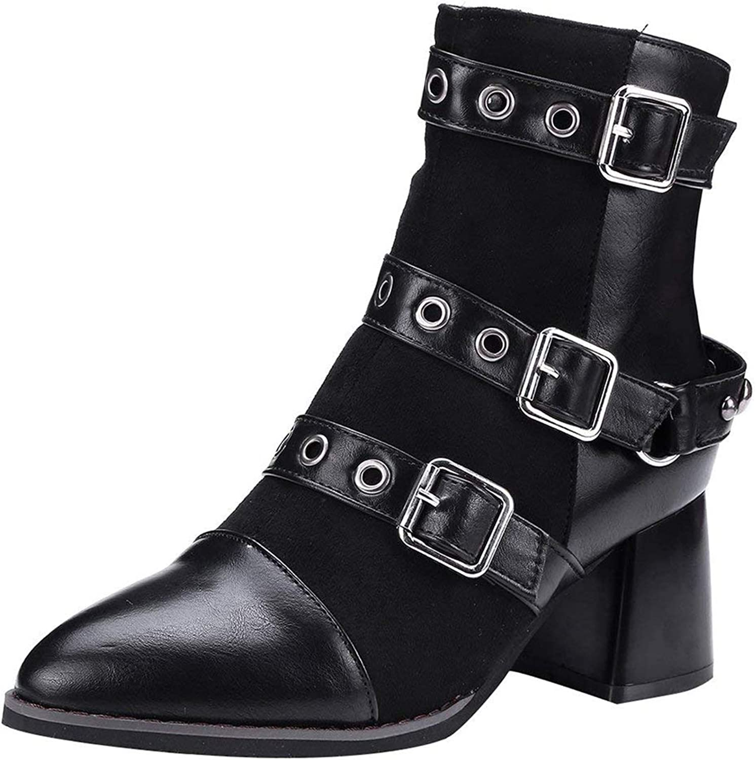 Vitalo Womens Mid Block Heel Pointed Toe Ankle Boots Zip Up Buckles Autumn Winter shoes