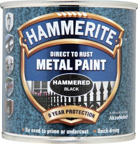 Hammerite Direct to Rust Metal Paint - Hammered Black Finish 250ML